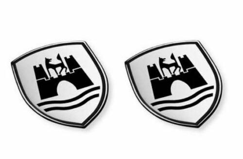 Volkwagen Dekorplakette Wolfsburg Wappen Schwarz (2 Stück)